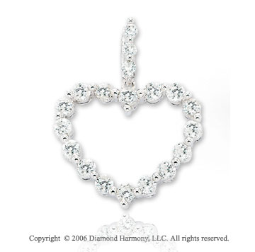 14k White Gold 1.00  Carat Diamond Chain Heart Pendant