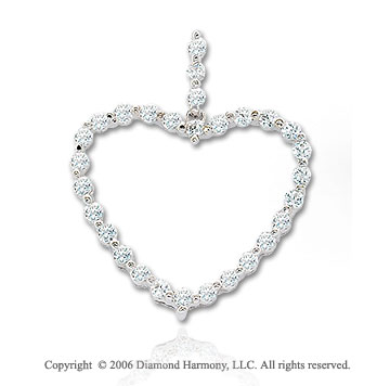 14k White Gold .75  Carat Diamond Chain Heart Pendant