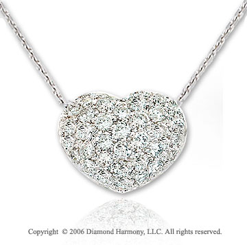 14k White Gold Bubbles .60  Carat Diamond Heart Pendant