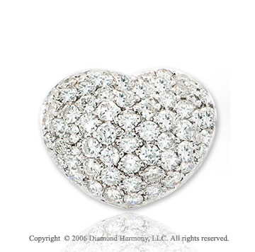 14k White Gold Bubbles.85  Carat Diamond Heart Pendant