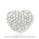 14k White Gold Bubbles 1.65  Carat Diamond Heart Pendant