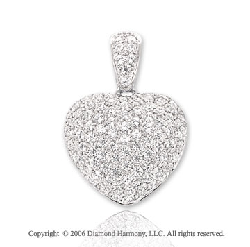 14k White Gold 1.75  Carat Diamond Bail Heart Pendant