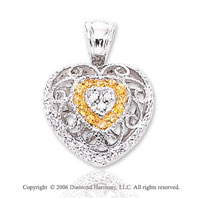 14k White Gold Yellow Sapphire Diamond Heart Pendant