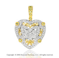 14k Two Tone Gold Yellow Sapphire Diamond Heart Pendant