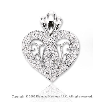 14k White Gold Filigree 1/8 Carat Diamond Heart Pendant