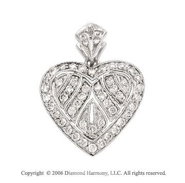 14k White Gold Prong Path .40  Carat Diamond Heart Pendant