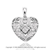 14k White Gold Filigree .35  Carat Diamond Heart Pendant