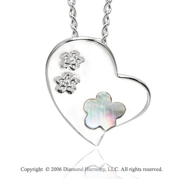 14k White Gold Sexy Star Trio Diamond Heart Pendant