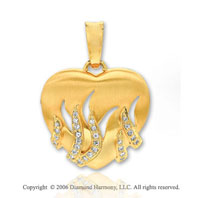 14k Yellow Gold Carved .25  Carat Diamond Heart Pendant