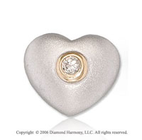 14k Two Tone Gold Rose Solitaire Diamond Heart Pendant