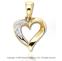 14k Yellow Gold 3 Stone Cluster Diamond Heart Pendant