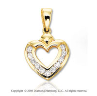 14k Yellow Gold Channel .25  Carat Diamond Heart Pendant