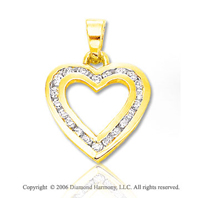 14k Yellow Gold .35  Carat Diamond Open Heart Pendant
