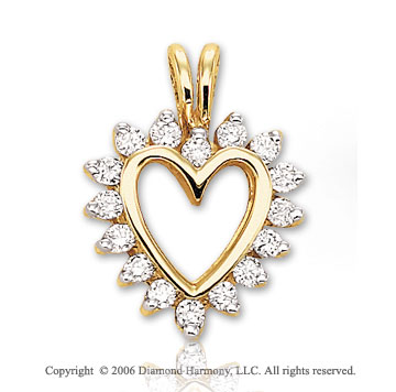 14k Yellow Gold Starburst .25  Carat Diamond Heart Pendant