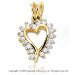 14k Yellow Gold Tilting .30  Carat Diamond Heart Pendant
