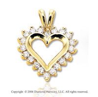 14k Yellow Gold Perfe Carat .50  Carat Diamond Heart Pendant