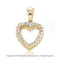 14k Yellow Gold Prong 1/6 Carat Diamond Heart Pendant