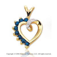 14k Yellow Gold 8 Blue Sapphire Diamond Heart Pendant