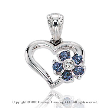 14k White Gold 5 Blue Sapphire Diamond Heart Pendant