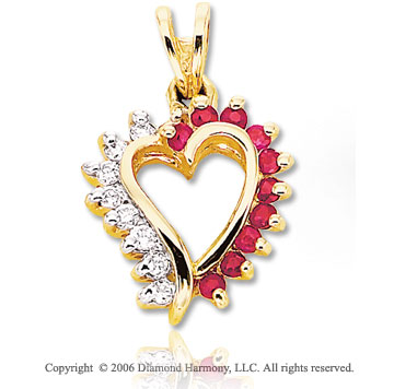 14k Yellow Gold 10 Ruby .15  Carat Diamond Heart Pendant