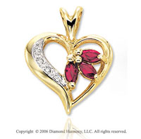 14k Yellow Gold Marquise Ruby Pave Diamond Heart Pendant