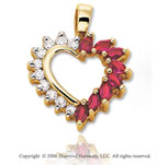 14k Yellow Gold 8 Ruby .25  Carat Diamond Heart Pendant