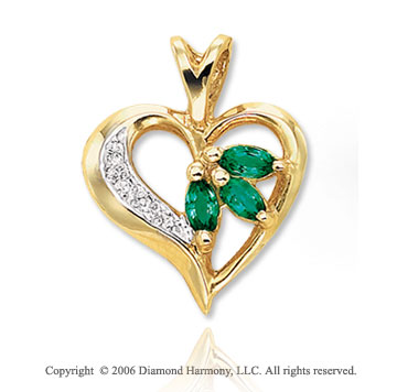 14k Yellow Gold Marquise Emerald Diamond Heart Pendant