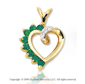 14k Yellow Gold 8 Round Emerald Diamond Heart Pendant