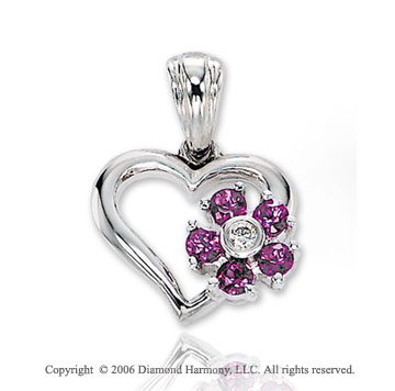 14k White Gold 5 Sapphire Flower Diamond Heart Pendant