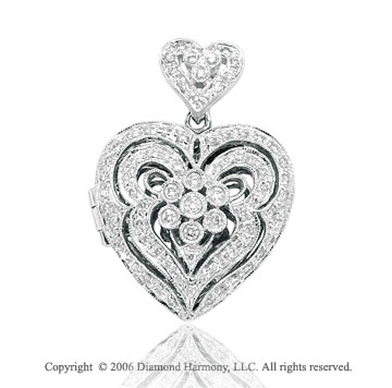 14k White Gold Bezel Prong .50 Carat Diamond Heart Pendant