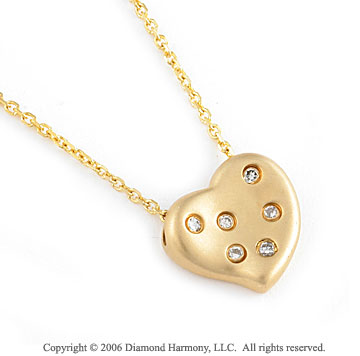 14k Yellow Gold Round Bezel 6 Diamond Heart Pendant