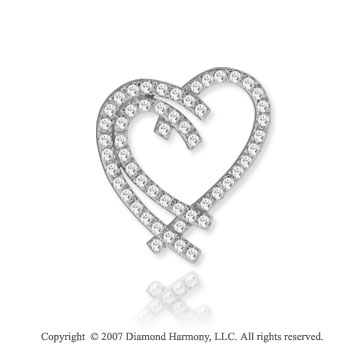 14k White Gold Interlaced Hearts 1/2 Carat Diamond Pendant