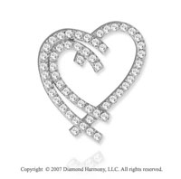 14k White Gold Interlaced Hearts 3/4 Carat Diamond Pendant