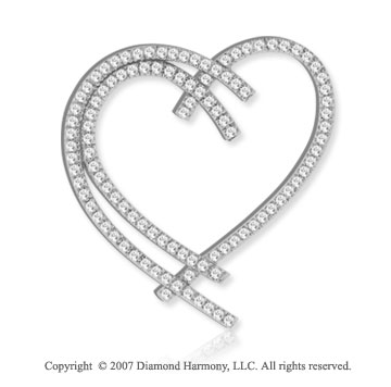 14k White Gold Interlaced Hearts 1.80 Carat Diamond Pendant