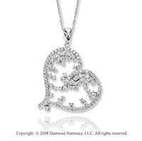 14k White Gold 1.10 Carat Diamond Sideways Heart Necklace