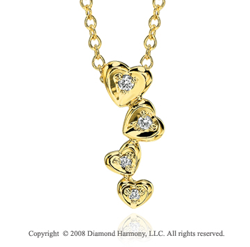 14k Yellow Gold Elegant 4 Heart Diamond Necklace