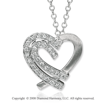 14k White Gold Diamond Double Sided Heart Necklace