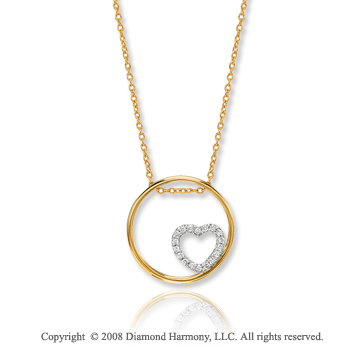14k Two Tone Gold Pave Diamond Heart Circle of Life Pendant