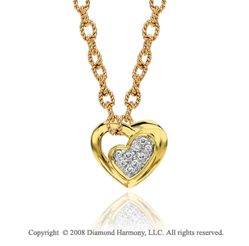 14k Yellow Gold Pave Diamond Heart Necklace