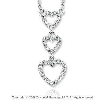 14k White Gold 1/4 Carat Diamond Triple Heart Necklace