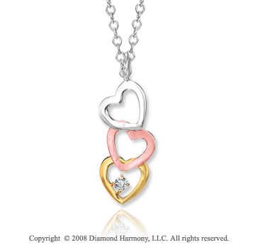 14k Tri Tone Gold Attractive Heart Diamond Pendant Necklace