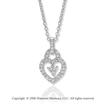14k White Gold 0.40 Carat Diamond Heart Necklace