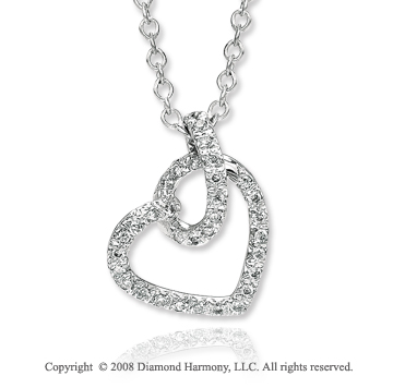 14k White Gold Diamond Sideways Heart Necklace