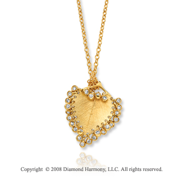 14k Yellow Gold Diamond Unique Leaf Shape Heart Necklace