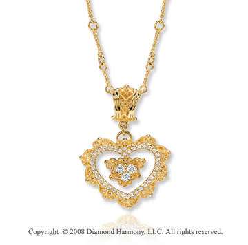 14k Yellow Gold Vi Caratorian Style 1/3 Carat Diamond Heart Necklace