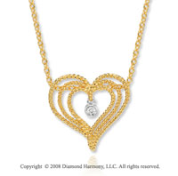 14k Yellow Gold Rope Heart Diamond Pendant Necklace