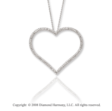 14k White Gold 0.65 Carat Simply Elegant Diamond Heart Necklace