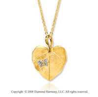 14k Yellow Gold Diamond Leaf Shaped Heart Necklace