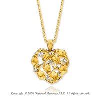 14k Yellow Gold Unique Heart Diamond Necklace