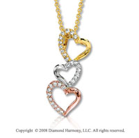 14k Tri Tone 1/6 Carat Diamond Triple Heart Necklace
